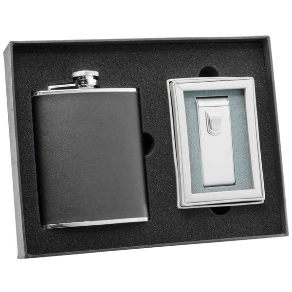 Visol Ano Black Leather Flask and Visol Ano Maximus Matte Chrome Torch Flame Cigar Lighter Set