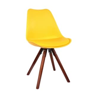 Viborg Mid Century Yellow Side Chair with Walnut Wood Base (Set of 2)