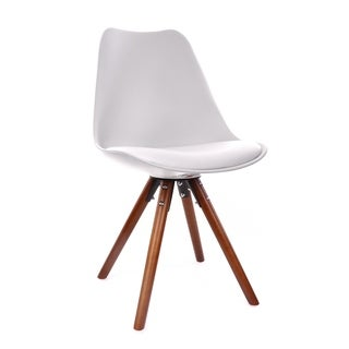 Viborg Mid Century White Side Chair with Walnut Wood Base (Set of 2)