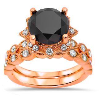 Noori 14k Rose Gold 2 1/6ct TDW Black Diamond Vintage Style Art Deco Bridal Set