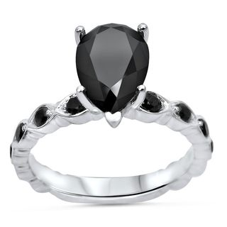 Noori 14k Gold Certified 2 1/5ct TDW Pear Black Diamond Art Deco Vintage Ring