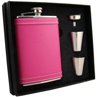 """Visol """"Alexis"""" Leather Flask Gift Set, 8-Ounce, Hot Pink"""