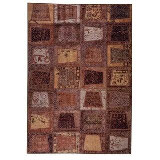Hand Printed Burs Brown Vintage Print Rug (India)