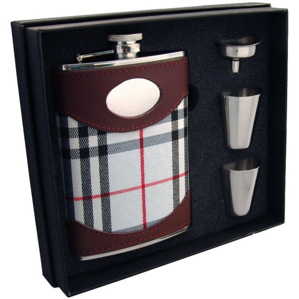Visol Tobias Leather & White Plaid Supreme II Flask Gift Set - 8 ounces