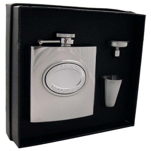Visol 5 Stars Groomsman Embossed Stainless Steel Supreme Flask Gift Set - 6 ounces