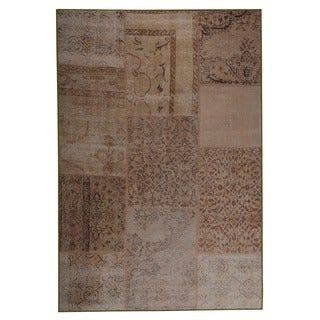 Hand Printed Konya Sand Vintage Print Rug (India)