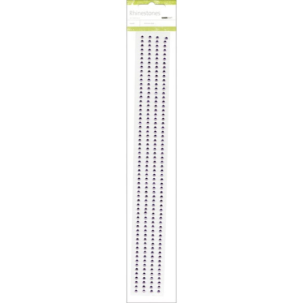 "Self-Adhesive 3mm Rhinestone Strips 12"" 4/Pkg-Lilac"