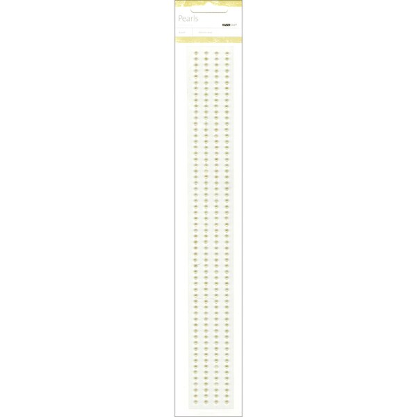 "Self-Adhesive 3mm Pearl Strips 12"" 4/Pkg-Champagne"