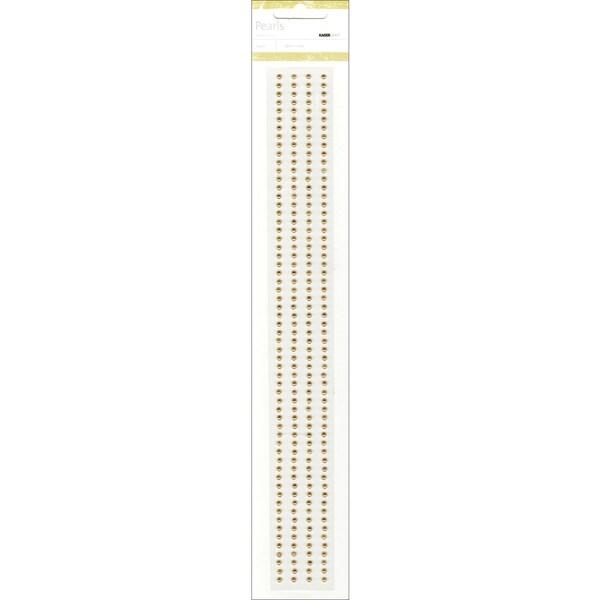 "Self-Adhesive 3mm Pearl Strips 12"" 4/Pkg-Latte"