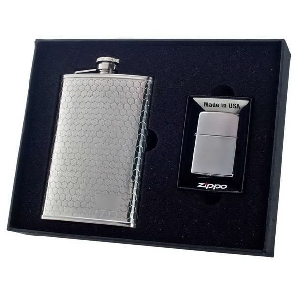 "Visol Hive"" Beehive Pattern 8oz Flask & Zippo Lighter Gift Set"""