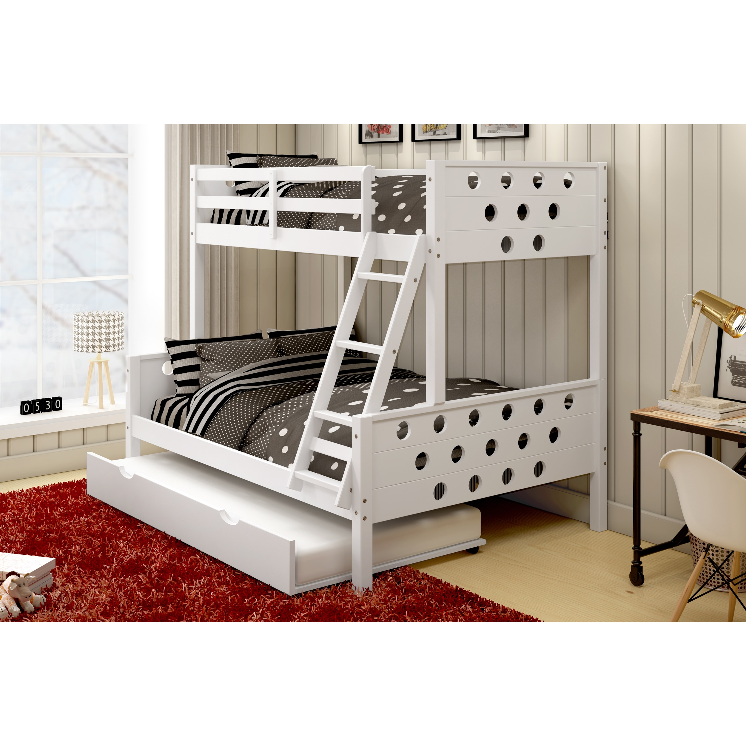 trundle beds rustica full loft over twin trundle bunk w desk chair find it at shopwiki. Black Bedroom Furniture Sets. Home Design Ideas