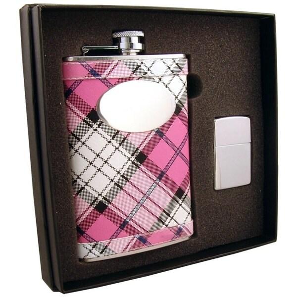 """Visol """"Valor"""" Pink Plaid Stainless Steel 8oz Hip Flask & Polished Zippo Lighter Gift Set"""