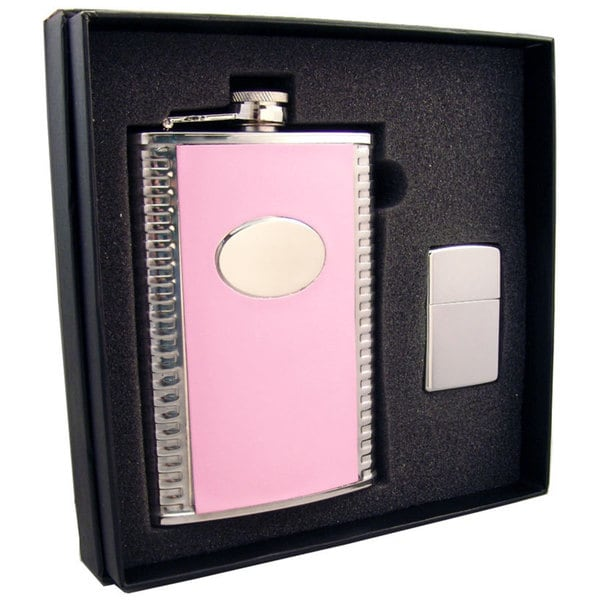 "Visol ""Supermodel"" Pink Leatherette Stainless Steel 8oz Hip Flask & Polished Zippo Lighter Gift Set"