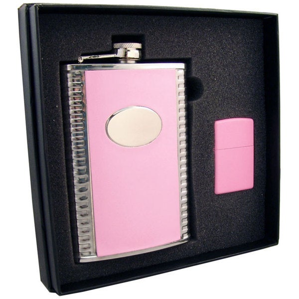 "Visol ""Supermodel"" Pink Leatherette Stainless Steel 8oz Hip Flask & Pink Zippo Lighter Gift Set"