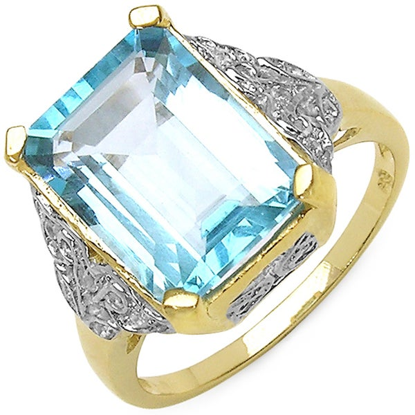 Malaika 14K Yellow Gold Plated Sterling Silver Genuine Blue Topaz White Topaz Ring