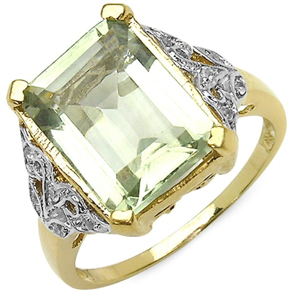Malaika 14k Yellow Gold Plated Sterling Silver Genuine Green Amethyst White Topaz Ring
