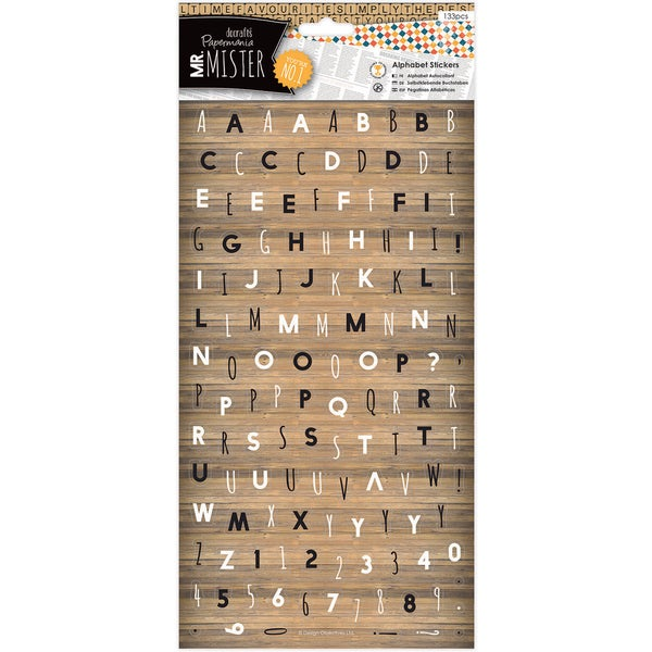 Papermania Mr. Mister Alphabet Stickers 6X11in