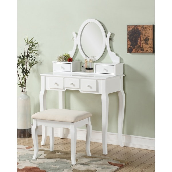 Ashley Wood White Makeup Vanity Table And Stool Set