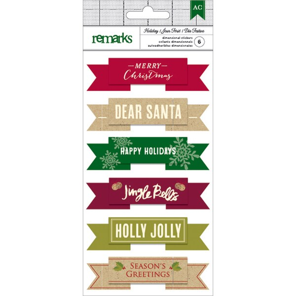 American Crafts Holiday Remarks Layered Stickers-Merry Christmas