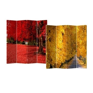 Fall Colors 4-Panel Double Sided Painted Canvas Room Divider Screen