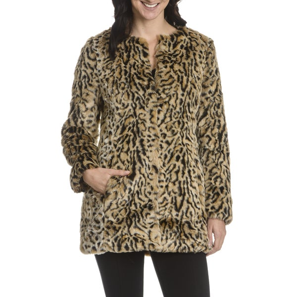 Steve Madden Women's Faux Fur Collarless Coat