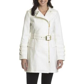 Steve Madden Women's Asymmetrical Zipper Trench Coat