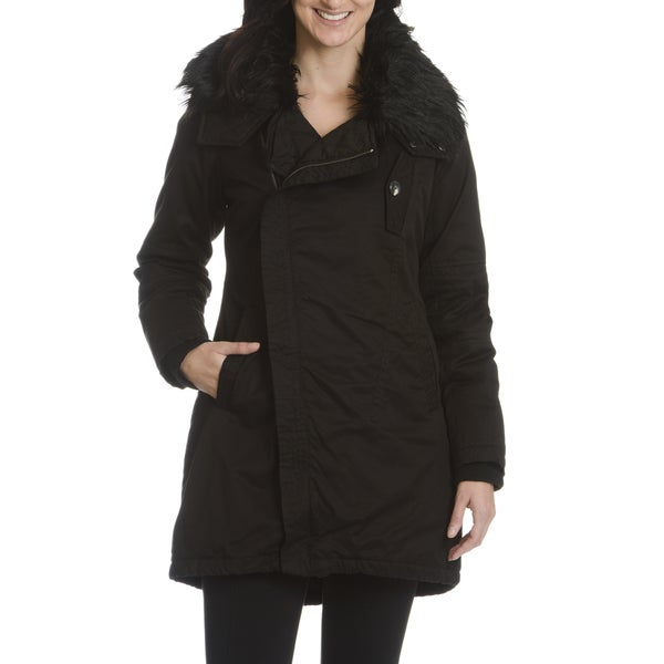 Steve Madden Women's Faux Fur Collar w/Concealed Hooded Coat Medium Size in Black (As Is Item)