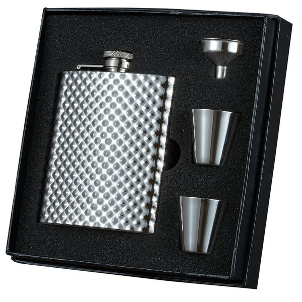 Visol Rhombus Stainless Steel Essential Flask, Funnel and 2 Shot Cups Gift Set 16736908