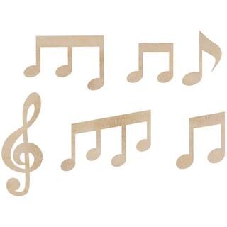 Wood Flourishes 6/Pkg-Music Notes