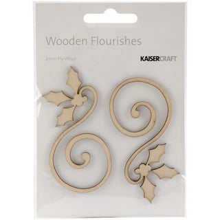 Wood Flourishes 2/Pkg-Holly Curl