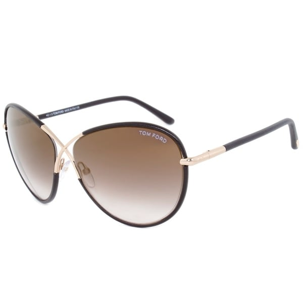 Tom Ford Womens TF 344 Rosie 48G Brown Leather And Gold Metal Oversized Butterfly Sunglasses