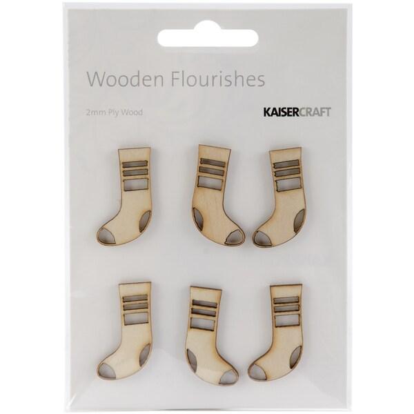 Wood Flourishes 6/Pkg-Mini Stockings