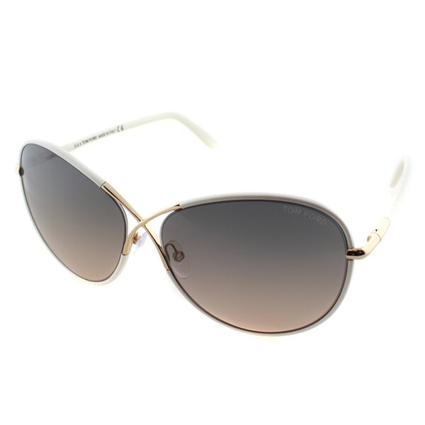 Tom Ford Womens TF 344 Rosie 28F Shiny White And Gold Metal Oversized Butterfly Sunglasses