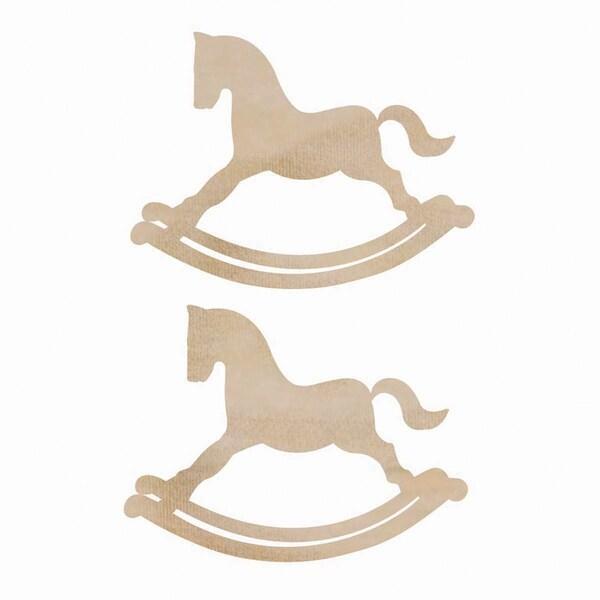 Wood Flourishes 2/Pkg-Rocking Horses