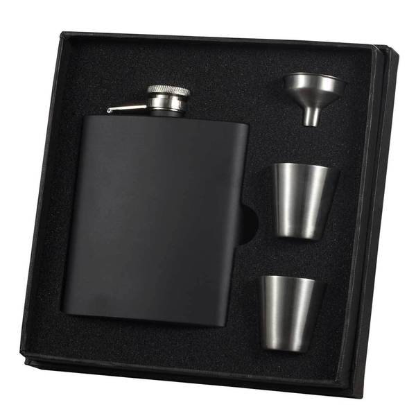 Visol Raven Black Matte Supreme Flask Gift Set - 8 ounces