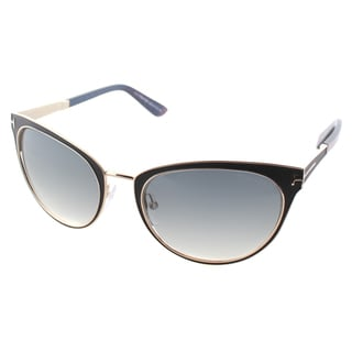 Tom Ford Womens TF 373 Nina 01B Black And Gold Metal Cat Eye Sunglasses