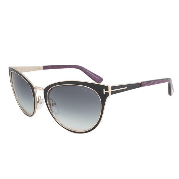 Tom Ford Womens TF 373 Nina 01B Black And Gold Metal Cat Eye Sunglasses