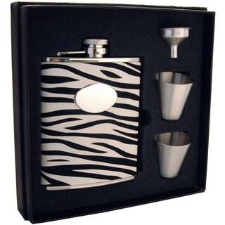 Visol Zebra Black & White Leather Supreme Flask Gift Set - 6 ounces