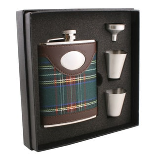 Visol Edinburgh Plaid & Leather Supreme Flask Gift Set - 6 ounces