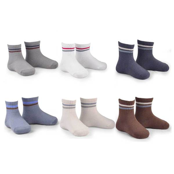 Naartjie Kids Boy Cotton Short Crew Socks Assorted 6-Pack