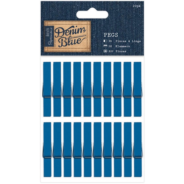 Papermania Denim Blue Pegs 20/Pkg-Clothespins