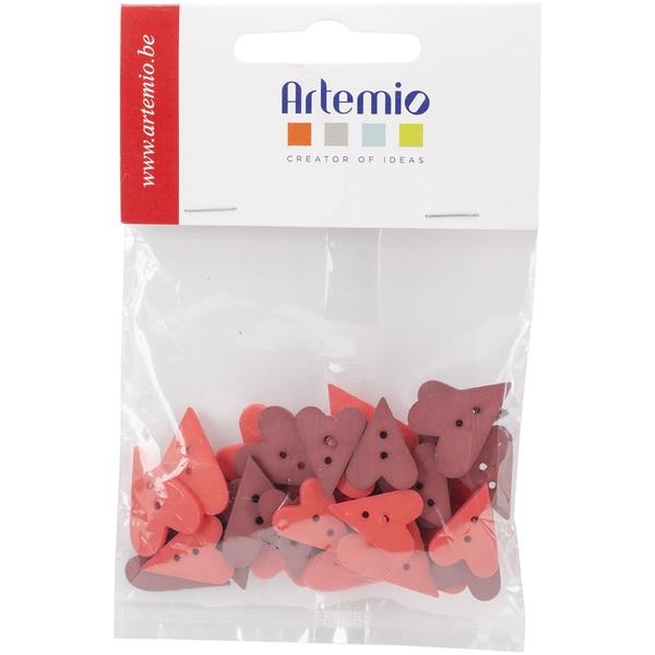 """Artemio Heart Buttons 36/Pkg-Red/Burgundy, .67"""" & .79"""""""