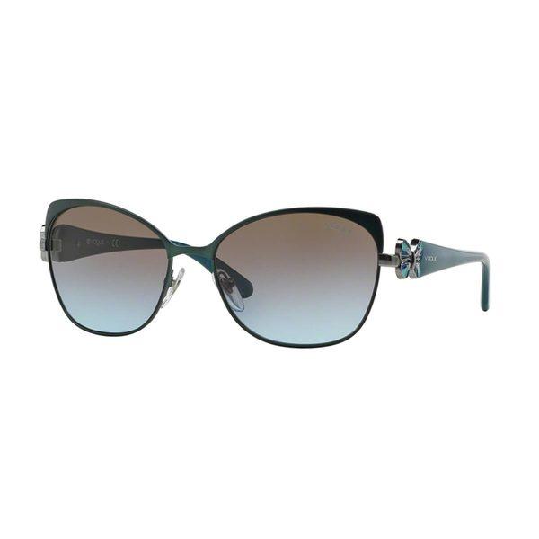 Vogue Women's VO3967S Green Metal Cat Eye Sunglasses