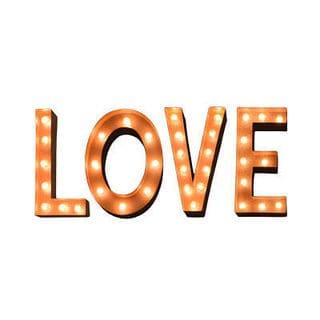 Indoor/Outdoor Typography 'LOVE' Rusted Marquee Lights