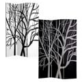 Black and White Tree 3 Panels Double Sided Painting Canvas Room Divider Screen