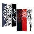 Tree 3-Panel Double Sided Painted Canvas Room Divider Screen