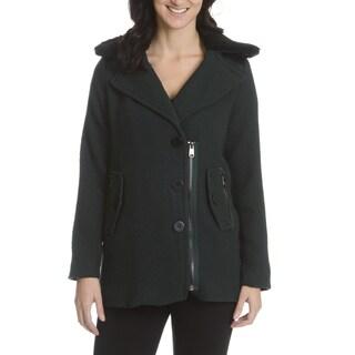 Steve Madden Women's Removable Sherpa Collar Coat