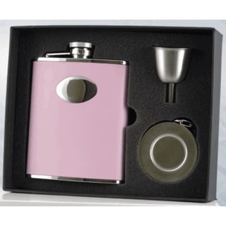 Visol Leather Wrapped 6-Ounce Pink Liquor Flask, Telescopic Shot Cup and Funnel Gift Set 16737402