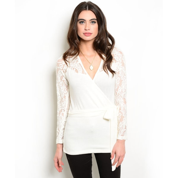 Shop the Trends Women's Lace Long-Sleeve Sweater
