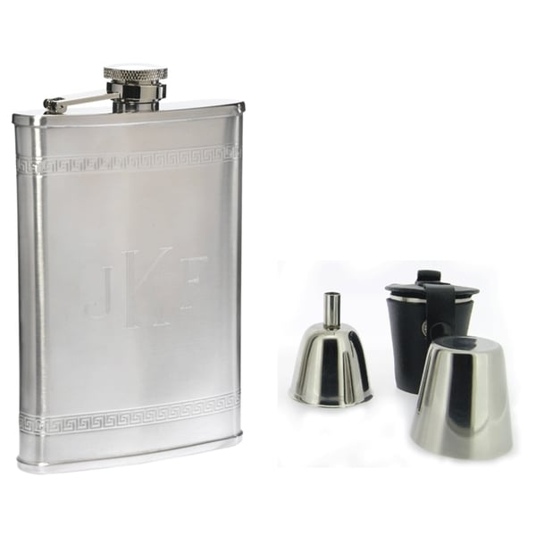 Visol Athens Greek Pattern Stainless Steel Deluxe II Flask Gift Set - 8 ounces 16737432